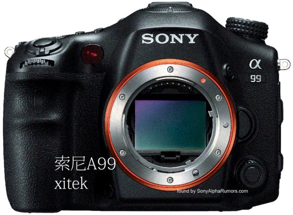 Sony Alpha A99 poses for another camera, no optical viewfinder in sight