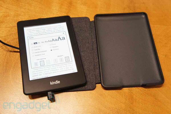 Amazon Kindle Paperwhite Leather Cover handson