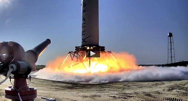 SpaceX's 'Grasshopper' vertical takeoff  vertical landing rocket takes its first small hop video