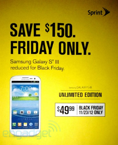 Sprint Black Friday ad reveals $50 Galaxy S III