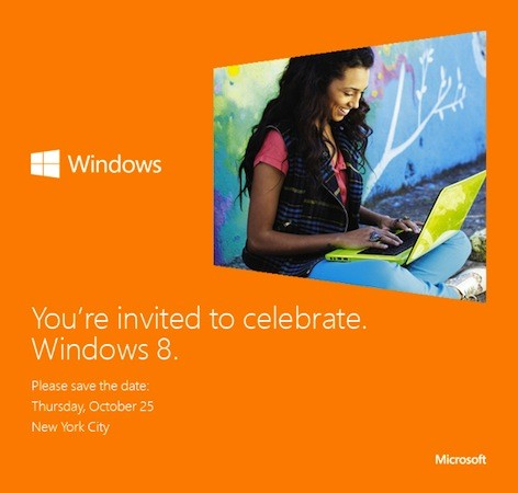 Microsoft sends out a Save the Date for Windows 8, all to be revealed on October 25