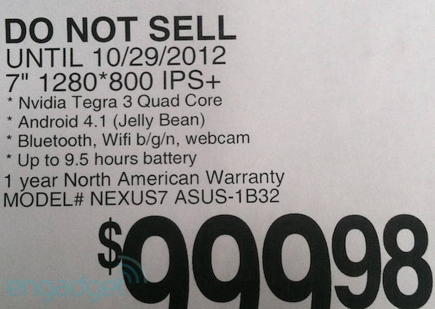 32GB Nexus 7 tablets appear at retail with $  249 price tag, October 29th street date