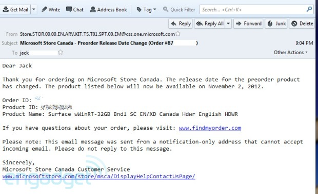 Microsoft Surface preorderers in Canada, UK report release dates pushed back to November 2nd