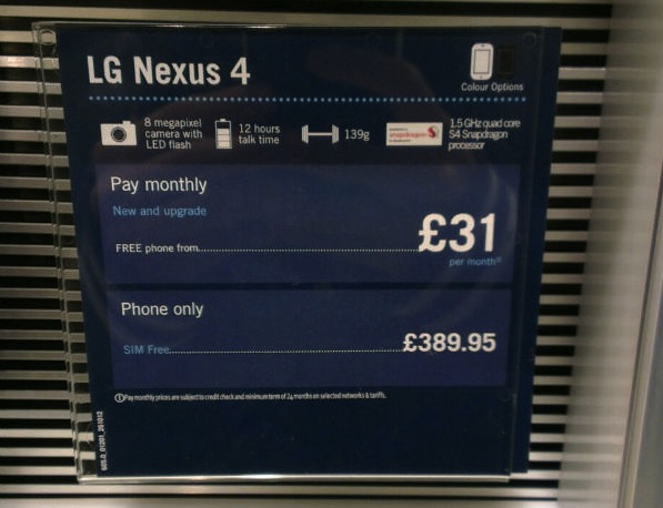 Purported Nexus 4 instore display placards list price at 390 euros Carphone Warephone leak, l