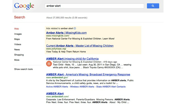 DNP Google adds AMBER Alerts for missing Children to Search and Maps