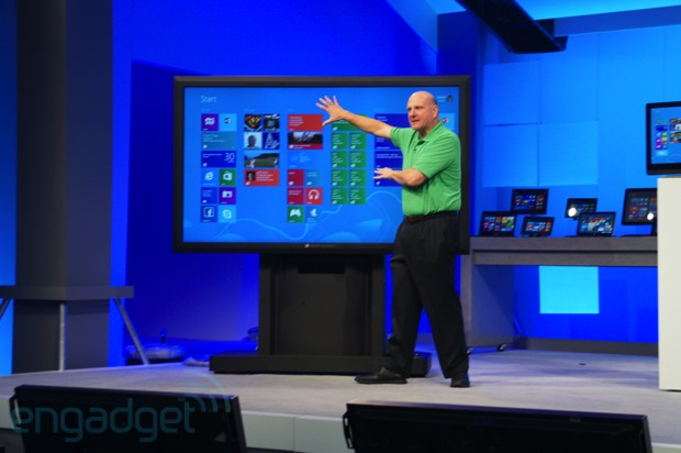 Steve Ballmer at Build 2012 with giant display