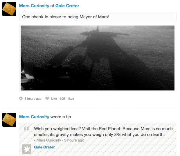 DNP Foursquare is out of this world, as Curiosity checks in at the Red Planet