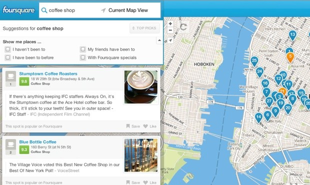 foursquarepublic Foursquare launches local search for all, goes after the likes of Yelp and Google