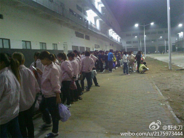 Workers at Foxconn's Zhengzhou factory strike by the thousands in reaction to new iPhone 5 quality standards, lack of training