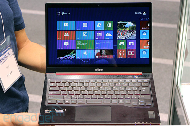 Fujitsu Lifebook UH75 running Windows 8 at CEATEC handson video