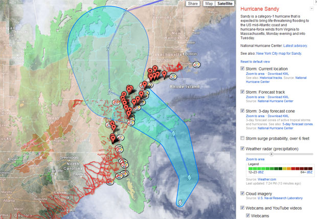 Google puts Hurricane Sandy on its crisis map, hopes to help you weather the storm 