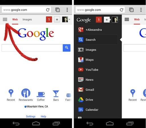Google mobile web revamp brings hidden sidebar, feels all too familiar