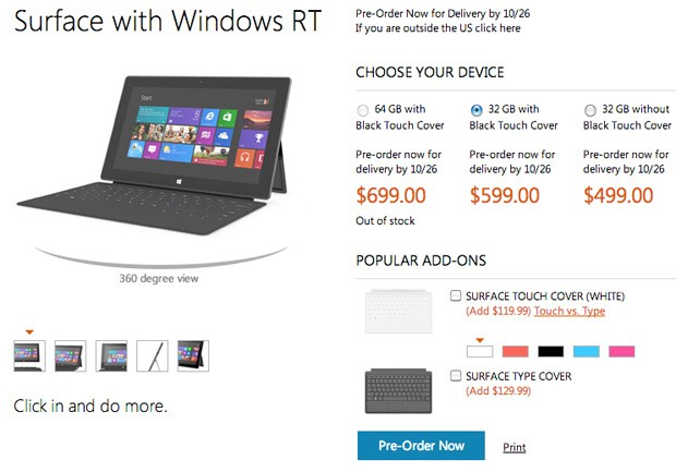 Microsoft reveals Surface pricing $499 for 32GB $599 with Touch Cover $699 for 64GB