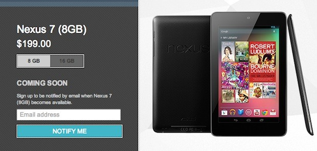 8GB Nexus 7 no longer in available at Google Play store