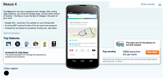 Nexus 4 appears early at Carphone Warehouse, October 30th release date