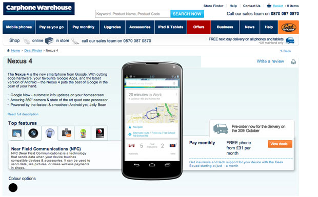 LG Nexus 4 appears at Carphone Warehouse
