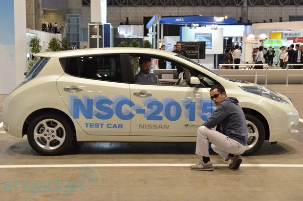 Nissan NSC2015 selfdriving car with LTE and smartphone connectivity testride with video