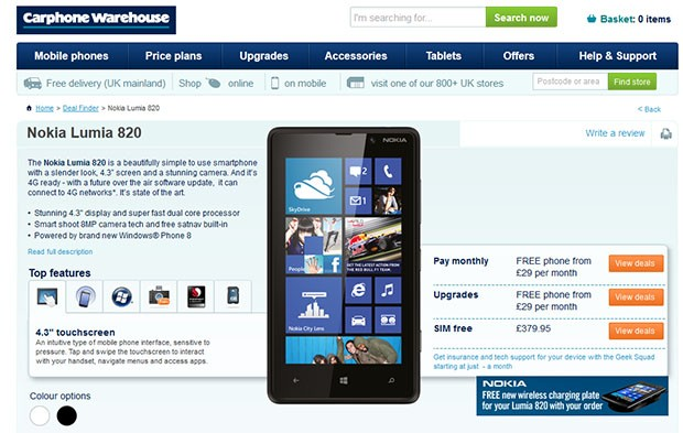 Nokia Lumia 820 up for UK preorder free on contract, 380 simfree