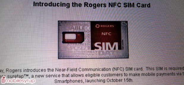 Rogers, CIBC may launch Suretap NFCbased payments on October 15th, require a unique SIM