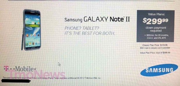 Purported leak has Galaxy Note II for TMobile costing $300 on contract