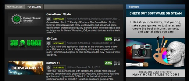 First nongame titles now available on Steam,