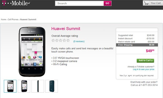 DNP Huawei Summit hits TMobile for $49 sporting fauxAndroid duds