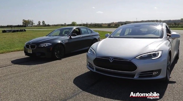 Tesla Model S squares off against BMW M5 in drag race, gives EVs extra street cred video