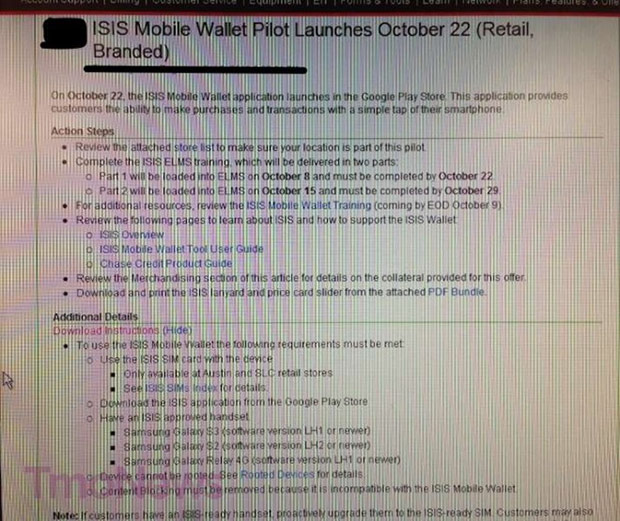 TMobile to kick off Isis Mobile Wallet pilot program on October 22nd according to leaked image