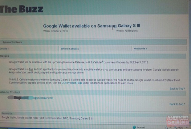 US Cellular Galaxy S III updates adds Google Wallet support