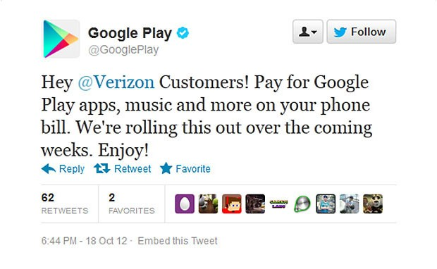 DNP Google tweet to Verizon clients 'Pay for Google Play apps on your phone bill'