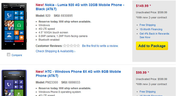 Best Buy offering preorders for Nokia Lumia 920 and HTC 8X for $  14999 and $  9999 under contract