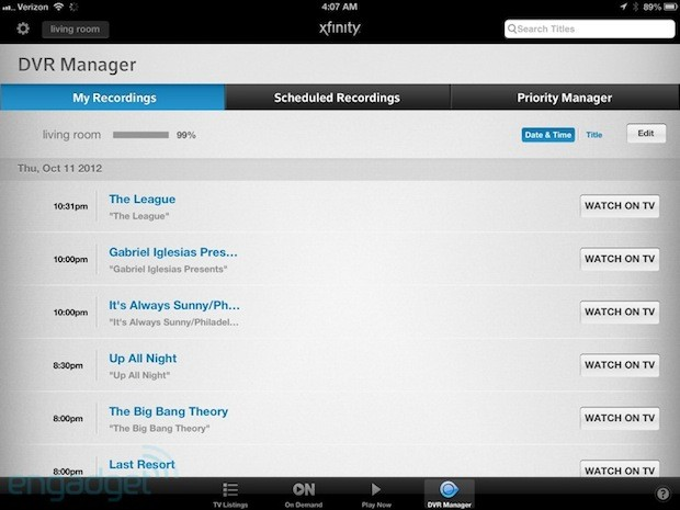 Comcast snaeks the ability to see, play DVR'd shows from iOS and web into latest update