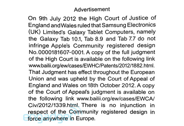 Here's Apple's newly printed apology to Samsung, in case you understandably missed it