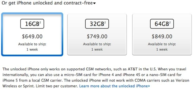 Apple begins selling unlocked iPhone 5 in the US, starting from $649