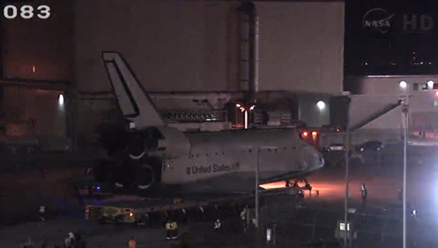 Watch Space Shuttle Atlantis' final journey to the Kennedy Space Center visitor building video