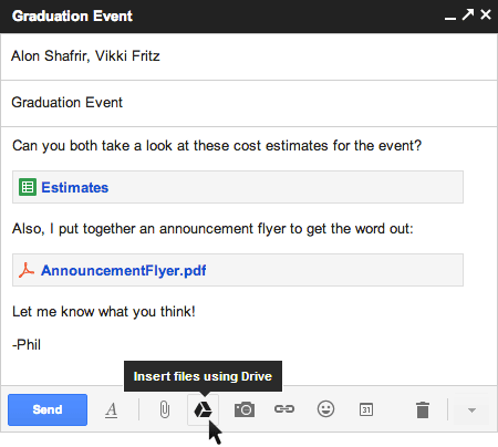 Google adds Drive integration to popup composer, ups attachment limit to 10 gigs