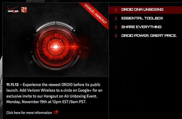 Verizon confirms Droid DNA on its Droid Does portal, promising 'unboxing' on November 19th