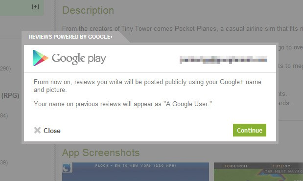 Google's Play Store website now links reviews with your Google+ account