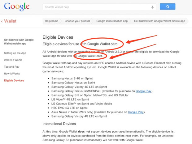 Google's own support site confirms 'Google Wallet card'