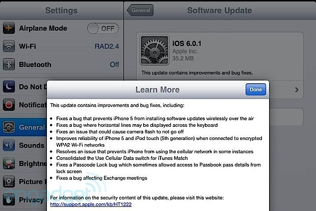 iOS 601 released, fixes iPhone 5 OTA software update issue and other bugs update