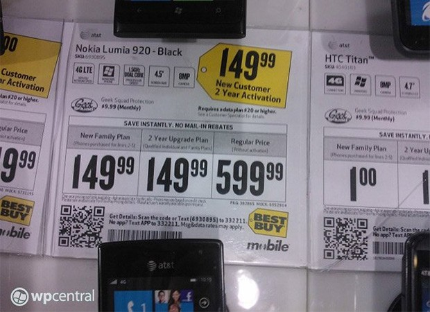 Best Buy pricing once again pegs Nokia Lumia 920 at $  150 oncontract