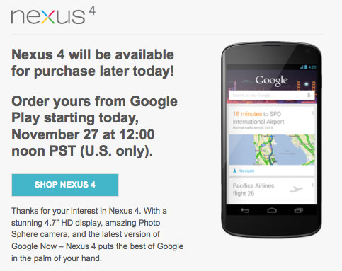 PSA Nexus 4 returns to Google Play at 3PM ET