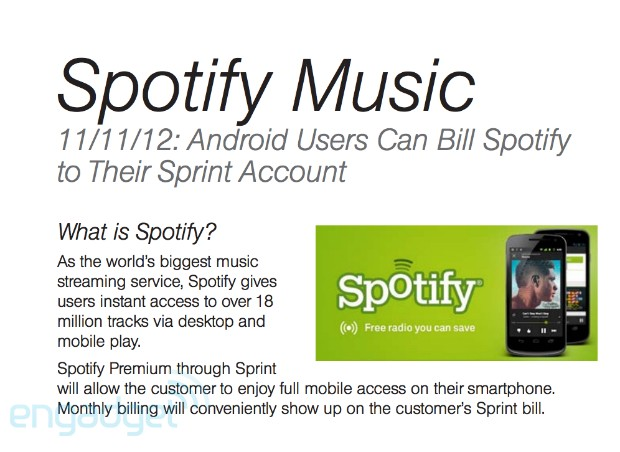 DNP Sprint adding Spotify Premium to carrier billing for Android customers starting November 11th