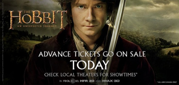 Advanced ticket sales for the The Hobbit available today with 450 theaters ready for 48 fps