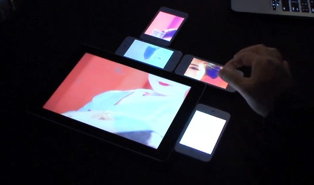 Tokyo University of Technology's Pinch interface creates impromptu video walls from mobile devices video