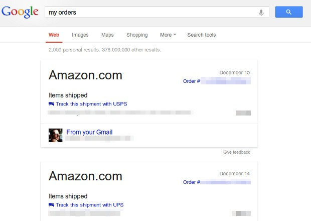 Google trials shipping, flight and event tracking in search results