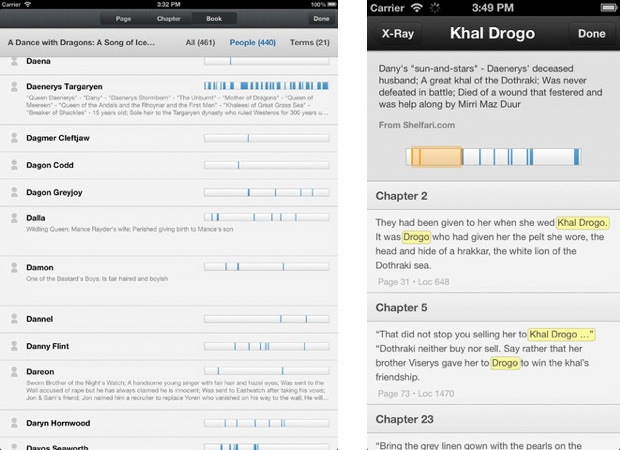 Amazon Kindle 3.5 for iOS adds Xray for extra-detailed searches