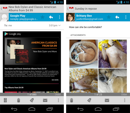Gmail 421 for Android adds pinchtozoom, swipe to archivedelete and thumbnail support
