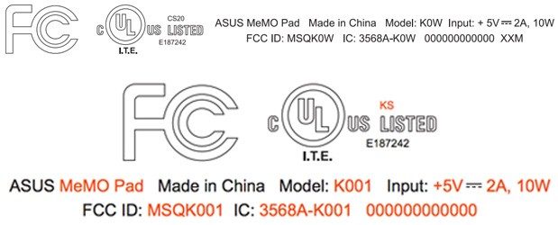 ASUS sends two MeMo Pads with WiFi through the FCC