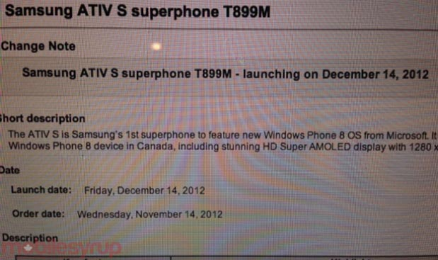 Leak suggests Samsung ATIV S to launch in Canada with Bell on December 14th